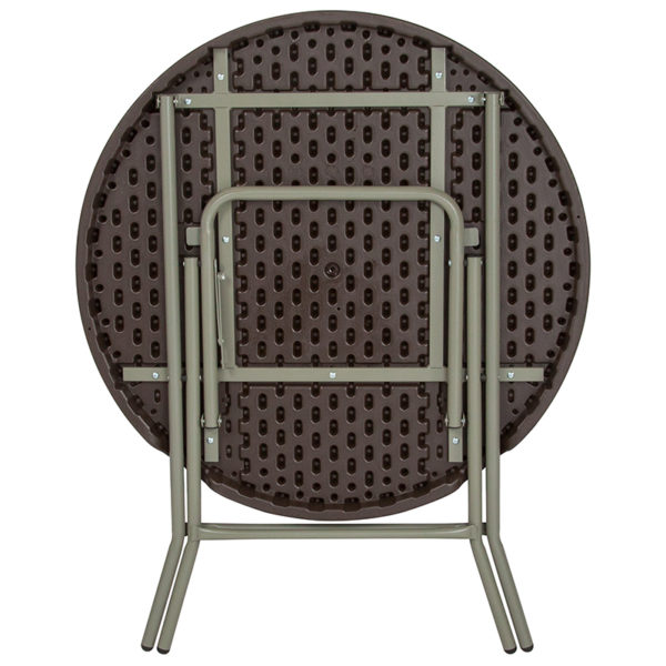 Lowest Price 31.5'' Round Brown Rattan Plastic Folding Table