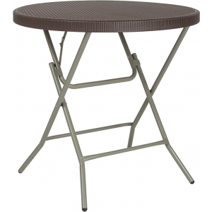 Wholesale 31.5'' Round Brown Rattan Plastic Folding Table