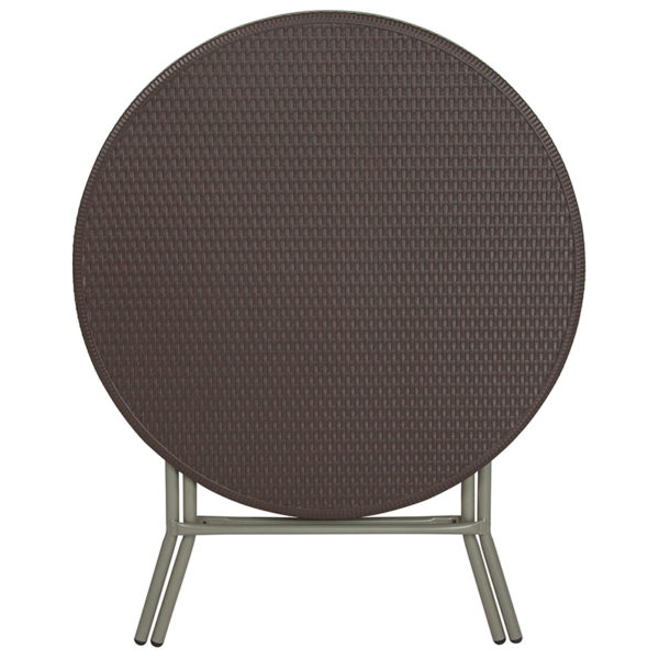 Ready To Use Table 31.5RD Brown Rattan Fold Table