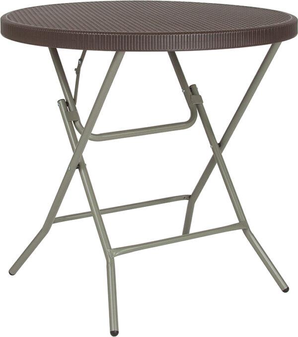Wholesale 31.5'' Round Brown Rattan Plastic Folding Table