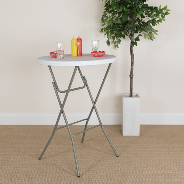 Lowest Price 32'' Round Granite White Plastic Bar Height Folding Table
