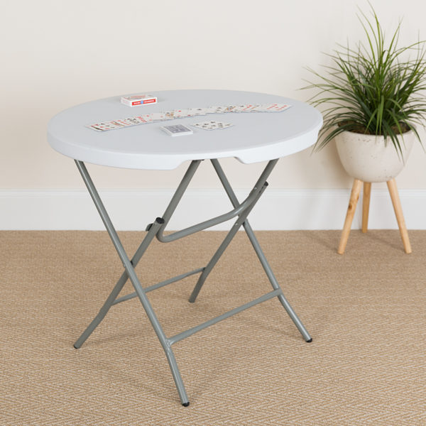 Lowest Price 32'' Round Granite White Plastic Folding Table