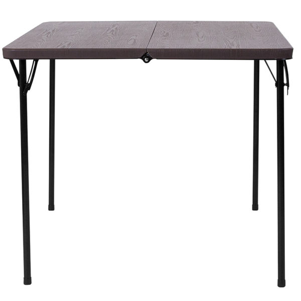 Lowest Price 34'' Square Bi-Fold Brown Wood Grain Plastic Folding Table with Carrying Handle