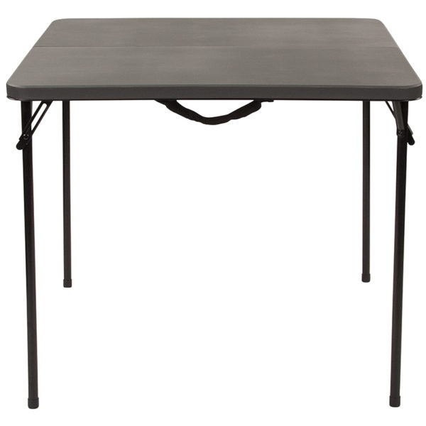 Lowest Price 34'' Square Bi-Fold Dark Gray Plastic Folding Table with Carrying Handle