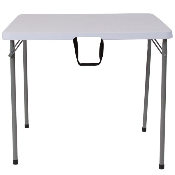 Lowest Price 34'' Square Bi-Fold Granite White Plastic Folding Table with Carrying Handle