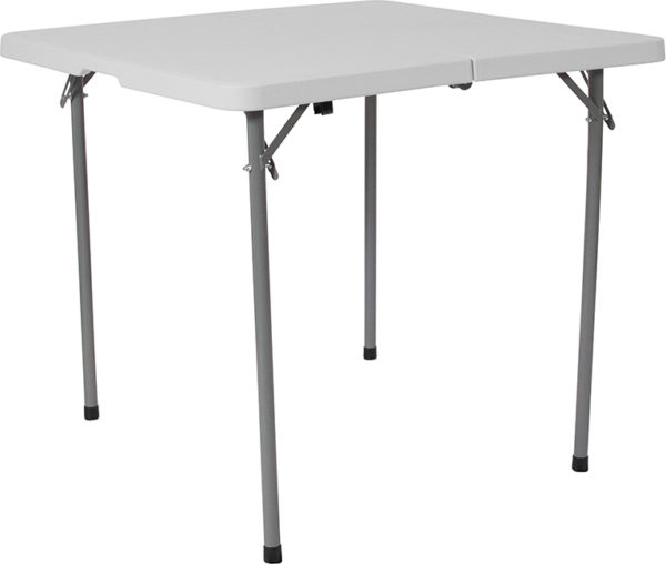 Wholesale 34'' Square Bi-Fold Granite White Plastic Folding Table with Carrying Handle