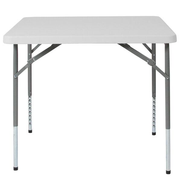 Lowest Price 34'' Square Height Adjustable Granite White Plastic Folding Table