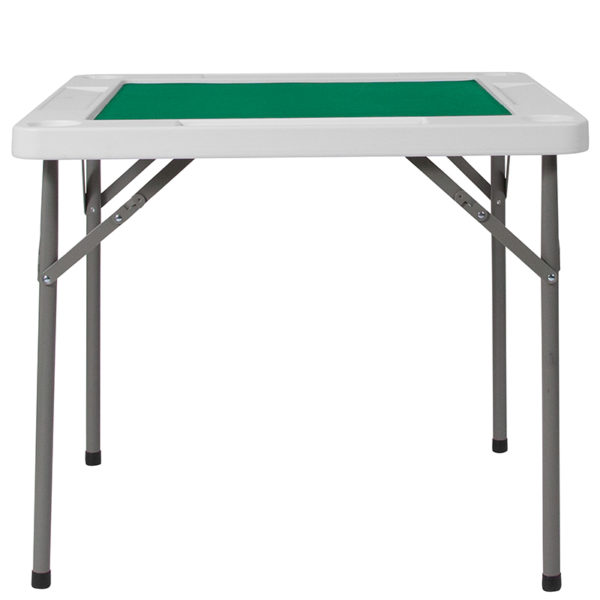 Lowest Price 34.5'' Square Granite White Folding Game Table with Green Playing Surface