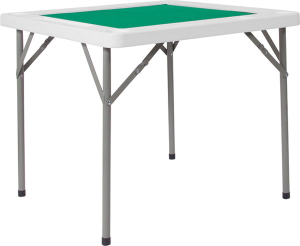 Wholesale 34.5'' Square Granite White Folding Game Table with Green Playing Surface