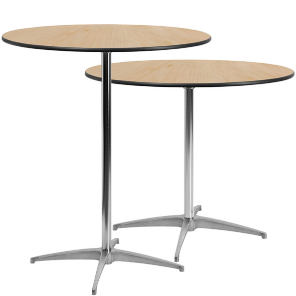 Lowest Price 36'' Round Wood Cocktail Table with 30'' and 42'' Columns