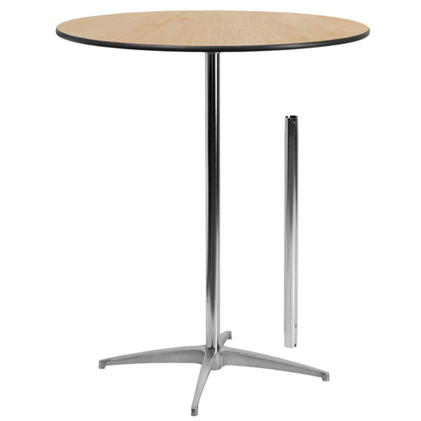 Wholesale 36'' Round Wood Cocktail Table with 30'' and 42'' Columns