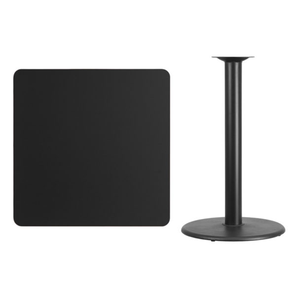 Lowest Price 36'' Square Black Laminate Table Top with 24'' Round Bar Height Table Base