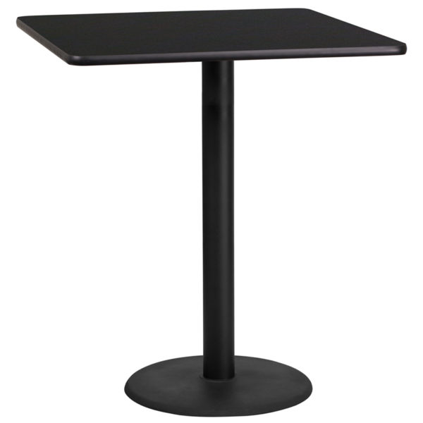 Wholesale 36'' Square Black Laminate Table Top with 24'' Round Bar Height Table Base