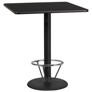 Wholesale 36'' Square Black Laminate Table Top with 24'' Round Bar Height Table Base and Foot Ring