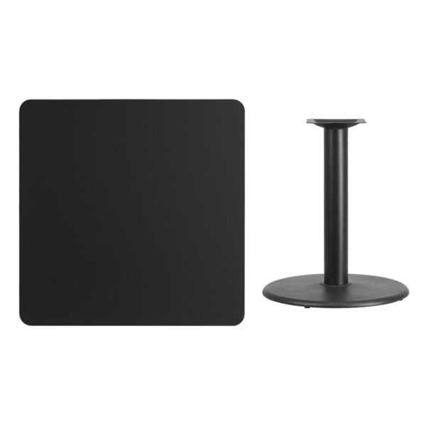 Lowest Price 36'' Square Black Laminate Table Top with 24'' Round Table Height Base