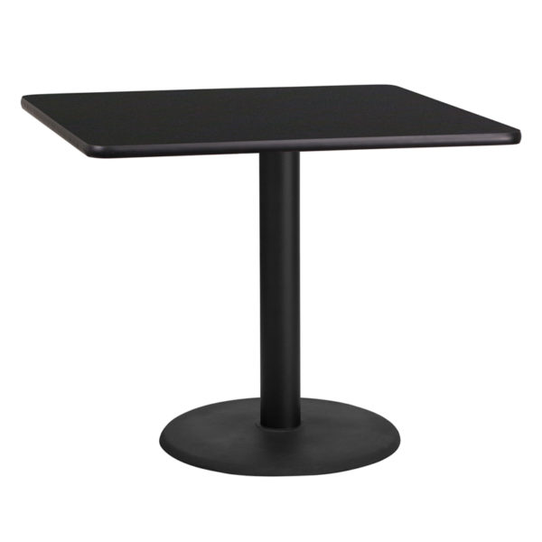 Wholesale 36'' Square Black Laminate Table Top with 24'' Round Table Height Base