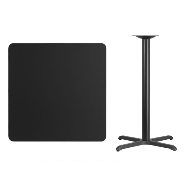 Lowest Price 36'' Square Black Laminate Table Top with 30'' x 30'' Bar Height Table Base