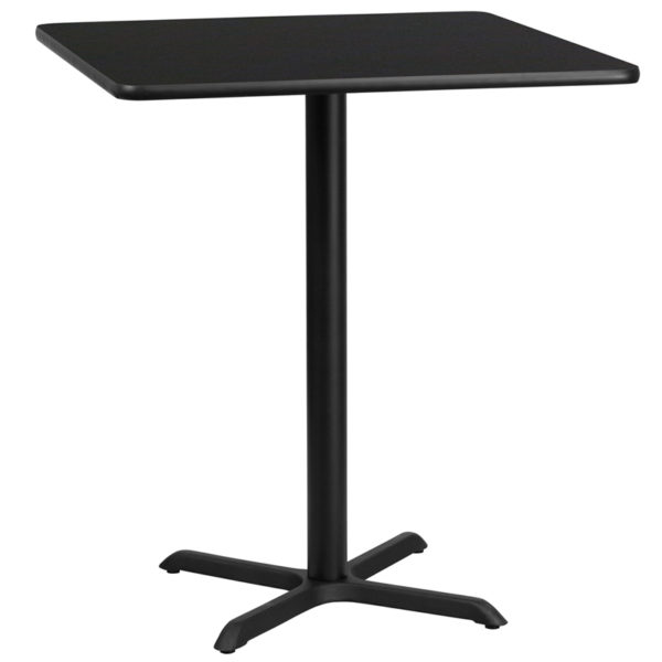 Wholesale 36'' Square Black Laminate Table Top with 30'' x 30'' Bar Height Table Base