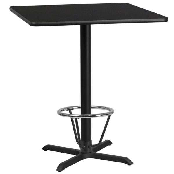 Wholesale 36'' Square Black Laminate Table Top with 30'' x 30'' Bar Height Table Base and Foot Ring