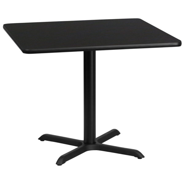 Wholesale 36'' Square Black Laminate Table Top with 30'' x 30'' Table Height Base