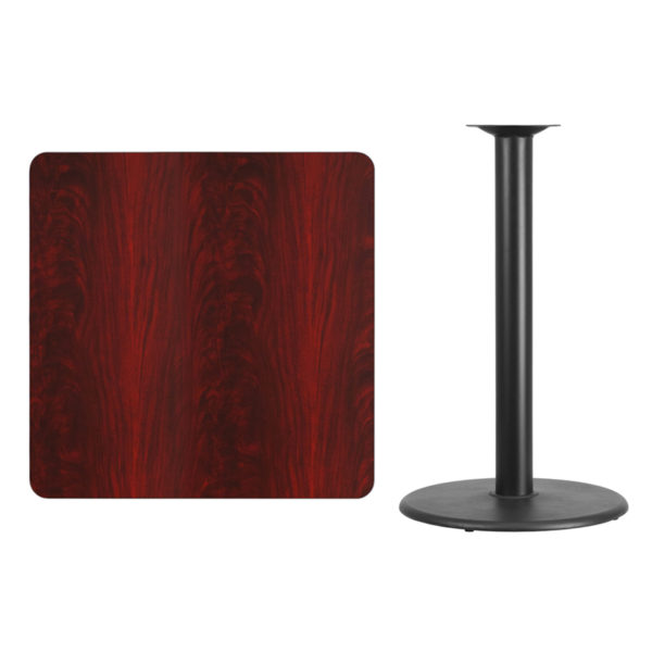 Lowest Price 36'' Square Mahogany Laminate Table Top with 24'' Round Bar Height Table Base