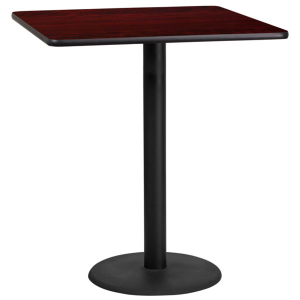 Wholesale 36'' Square Mahogany Laminate Table Top with 24'' Round Bar Height Table Base