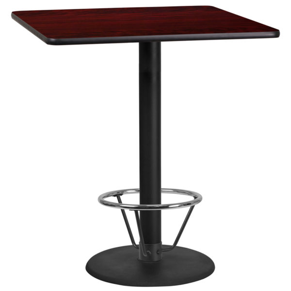 Wholesale 36'' Square Mahogany Laminate Table Top with 24'' Round Bar Height Table Base and Foot Ring