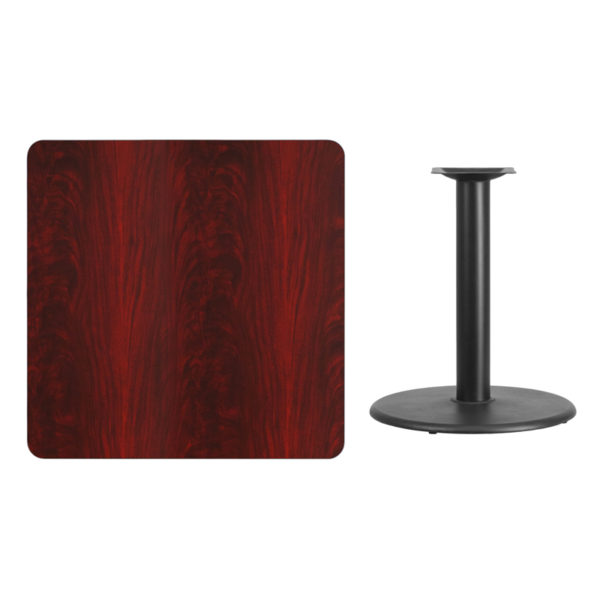 Lowest Price 36'' Square Mahogany Laminate Table Top with 24'' Round Table Height Base