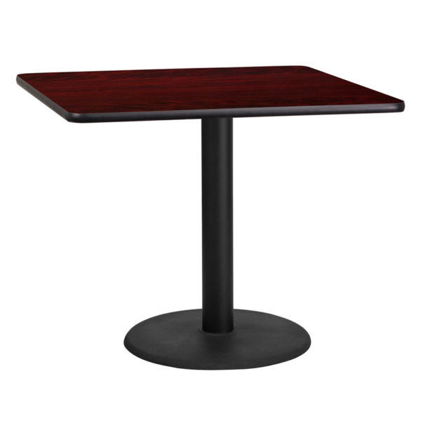 Wholesale 36'' Square Mahogany Laminate Table Top with 24'' Round Table Height Base