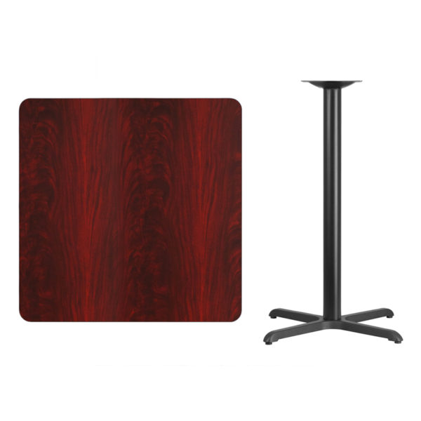 Lowest Price 36'' Square Mahogany Laminate Table Top with 30'' x 30'' Bar Height Table Base
