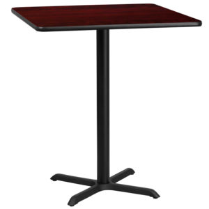 Wholesale 36'' Square Mahogany Laminate Table Top with 30'' x 30'' Bar Height Table Base