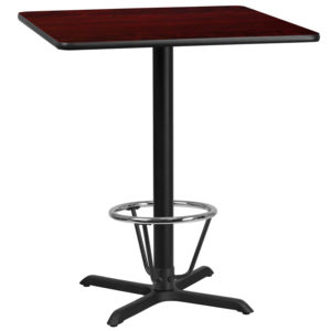 Wholesale 36'' Square Mahogany Laminate Table Top with 30'' x 30'' Bar Height Table Base and Foot Ring