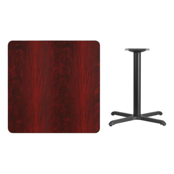 Lowest Price 36'' Square Mahogany Laminate Table Top with 30'' x 30'' Table Height Base