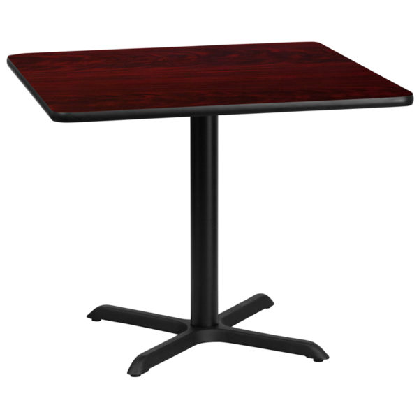 Wholesale 36'' Square Mahogany Laminate Table Top with 30'' x 30'' Table Height Base
