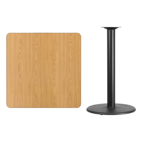 Lowest Price 36'' Square Natural Laminate Table Top with 24'' Round Bar Height Table Base