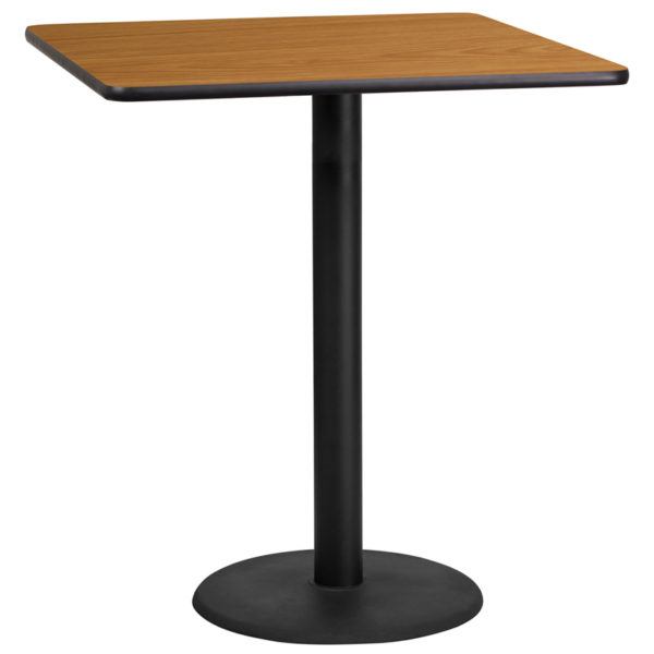 Wholesale 36'' Square Natural Laminate Table Top with 24'' Round Bar Height Table Base