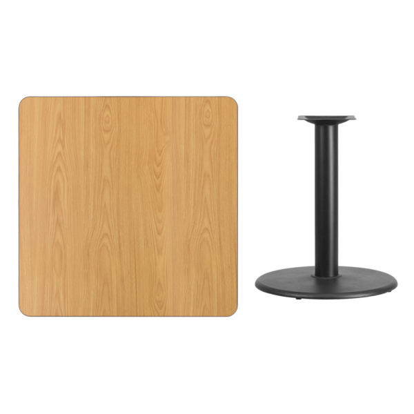 Lowest Price 36'' Square Natural Laminate Table Top with 24'' Round Table Height Base