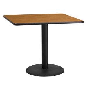 Wholesale 36'' Square Natural Laminate Table Top with 24'' Round Table Height Base