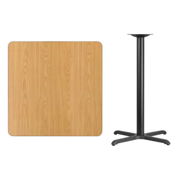 Lowest Price 36'' Square Natural Laminate Table Top with 30'' x 30'' Bar Height Table Base