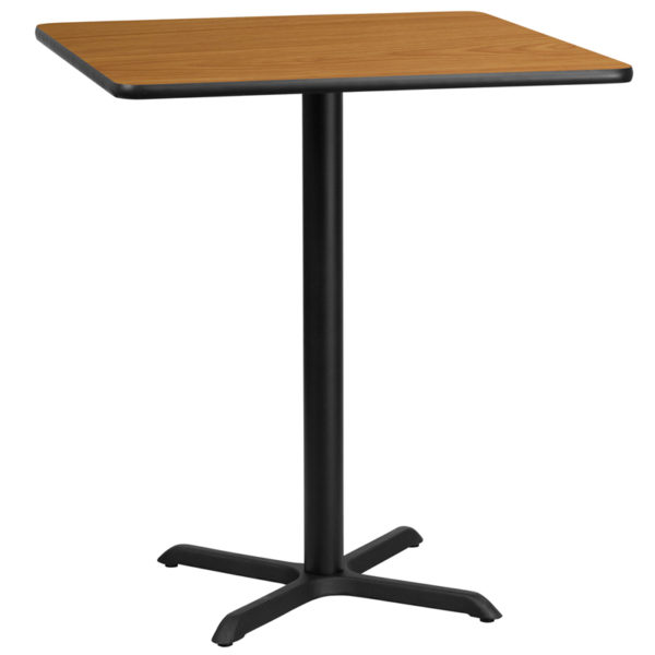 Wholesale 36'' Square Natural Laminate Table Top with 30'' x 30'' Bar Height Table Base