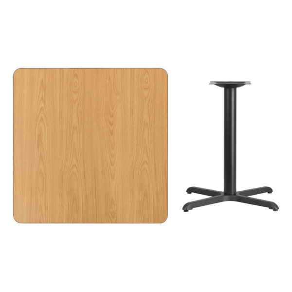Lowest Price 36'' Square Natural Laminate Table Top with 30'' x 30'' Table Height Base