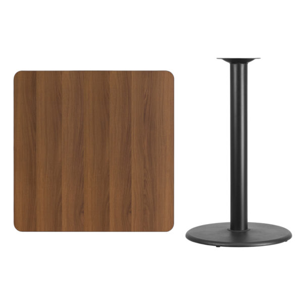Lowest Price 36'' Square Walnut Laminate Table Top with 24'' Round Bar Height Table Base