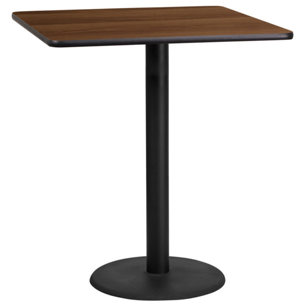 Wholesale 36'' Square Walnut Laminate Table Top with 24'' Round Bar Height Table Base