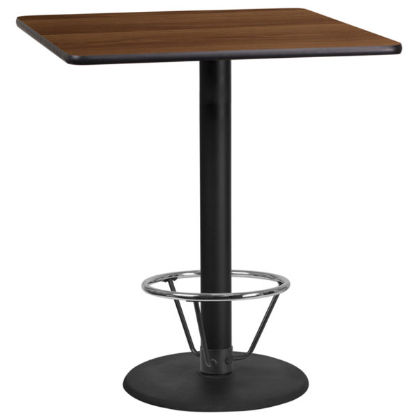 Wholesale 36'' Square Walnut Laminate Table Top with 24'' Round Bar Height Table Base and Foot Ring