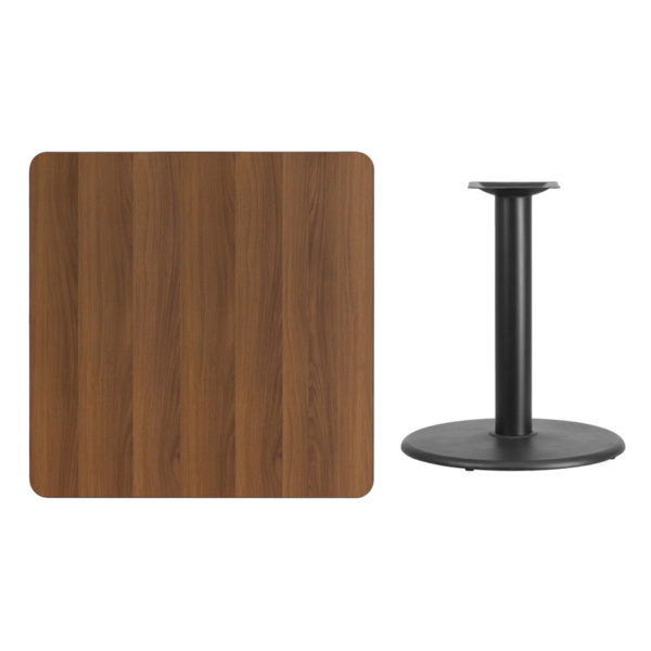 Lowest Price 36'' Square Walnut Laminate Table Top with 24'' Round Table Height Base