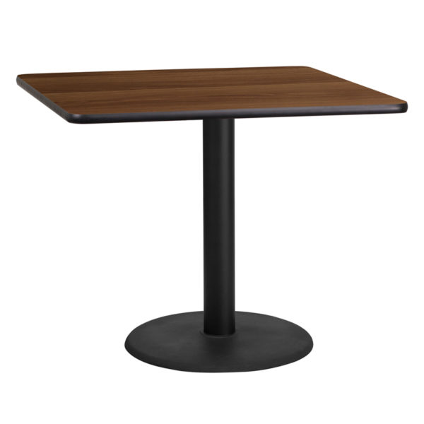 Wholesale 36'' Square Walnut Laminate Table Top with 24'' Round Table Height Base