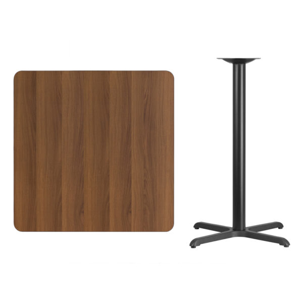 Lowest Price 36'' Square Walnut Laminate Table Top with 30'' x 30'' Bar Height Table Base