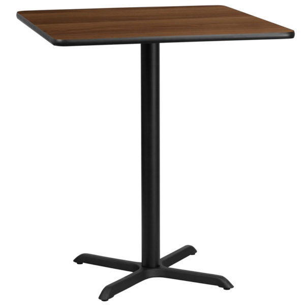 Wholesale 36'' Square Walnut Laminate Table Top with 30'' x 30'' Bar Height Table Base