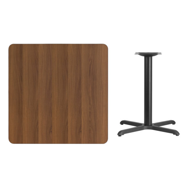 Lowest Price 36'' Square Walnut Laminate Table Top with 30'' x 30'' Table Height Base