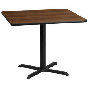 Wholesale 36'' Square Walnut Laminate Table Top with 30'' x 30'' Table Height Base